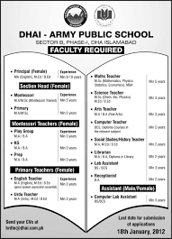 dhai army public school islamabad required faculty in islamabad dhai army public school islamabad required faculty