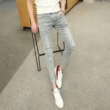 <b>2018 summer new</b> guy fashion trend hole society nine <b>pants</b> feet ...