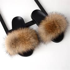 Real Fox Fur Slides <b>2019 Summer</b> Cute Fluffy Wholesale Bulk ...