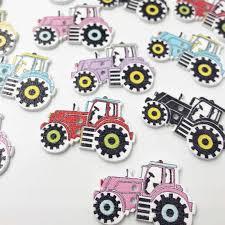 100pcs Mixed 2 Holes Cartoon tractor Wood <b>Buttons</b> Sewing ...