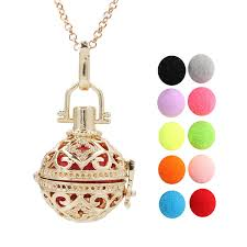<b>2019 Gold Color Hollow</b> Flower Lava Beads Cage Diffuser Ball ...