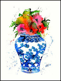 """Ginger Jar, Blue and White <b>China</b> Vase, <b>Poppy flowers</b>"" Art <b>Print</b> by ..."