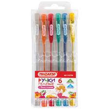 <b>Ручки гелевые Пифагор</b> набор 6 шт., ассорти с БЛЕСТКАМИ ...