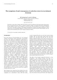 academic paper pdf the symptoms and consequences to selection academic paper pdf the symptoms and consequences to selection errors in recruitment decisions