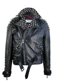 Men's <b>Classic</b> Black <b>Half</b> Spiked Studded Zip Up <b>Leather Jacket</b> ...