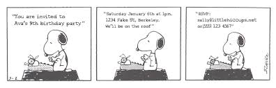 little hiccups a peanuts party invitation i really like the idea of the invitation being a comic strip it s simple instantly recognizable and it looks great in black and white