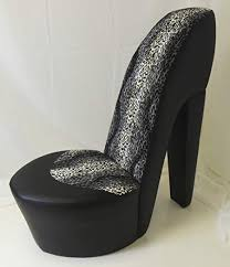 <b>black</b> stiletto / shoe / <b>high heel chair</b> snow leopard faux fur