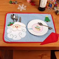household dining table set christmas snowman knife: pcs set christmas placemats with napkin santa claus plaid placemats eat mat dinner table decoration