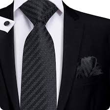 Polka Dot Stripe Silk Necktie Set LBW-337 <b>in</b> 2019 | Black prom ...