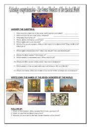 english teaching worksheets wonders of the world english worksheets seven wonders of the world