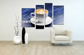 Wall Art Kitchen Decoration 4 Piece Blue Canvas White Modern Cup Abstract Large Pictures