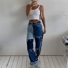 UANOU Y2k Patchwork <b>High Waist</b> Y2k Pants <b>Ladies</b> Cotton Jeans ...