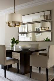 dining room wall decorating ideas: the treatment of the mirrors is especially great for a small dining room as the