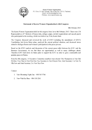 program descriptions karen women organisation kwo 6th congress statement 2013 eng version