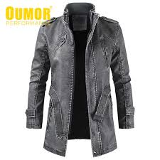 <b>Oumor Men Winter</b> Brand New Long Thick Fleece Leather Jacket ...