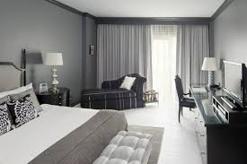 bedroom gray gray white flooring walls stylish curtains bedroom gray walls