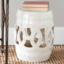 patio stool: double coin white ceramic patio stool