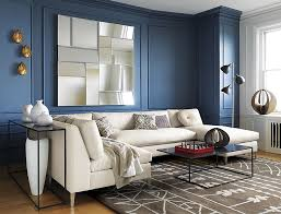 view in gallery smoky blue room with blue trim blue room white