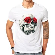 100% Cotton Harajuku Men <b>T Shirts</b> Fashion Red Rose <b>Floral Skull</b> ...