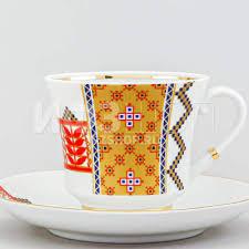 <b>Чашка с блюдцем</b> чайная ф. Банкетная рис. Русский <b>стиль</b>. Рушник