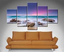 <b>Purple</b> Hued <b>Sunset 5 Panel</b> | Artwork, Canvas art, Wall murals