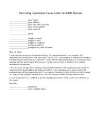 cover letter for a recruiter template cover letter for a recruiter