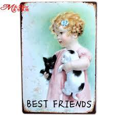 [ <b>Mike86</b> ] Best Friends Kids Cat Dog Wall Sign Metal Plaque ...
