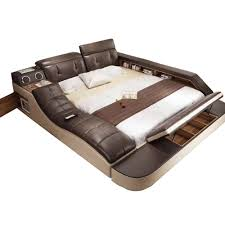 <b>real genuine leather bed</b> with massage /double beds frame king ...