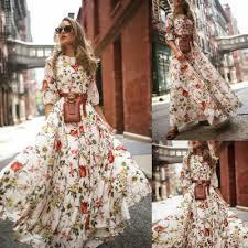 <b>Hirigin Summer</b> Long Dress Floral <b>Print</b> Boho Beach Dress Tunic ...
