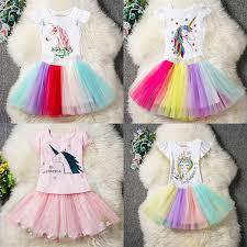 2019 Baby Girls Unicorn Outfits Dress Children Top+TuTu Rainbow ...
