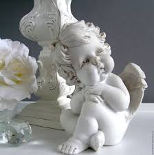 Купить Фигурка Задумчивый <b>ангел</b> - белый, фигурка, фигурка для ...