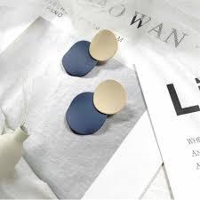 <b>Trendy</b> Beige & Blue Double <b>Circle Drop Earrings</b> For Women ...