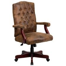 ultra rustic suede button tufted mahogany wood adjustable executive swivel office chair brown leather office chair
