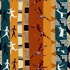 Seamless <b>African pattern</b> with figures of primitive people and animals.
