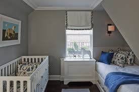 adorable city blue gray boys nursery design with gray walls paint color white modern crib white built in bed with storage white blue pillows and blue grey paint colors view