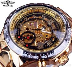 Winner Brand <b>New Fashion Gold Watch</b> Stylish Steel Men Male ...