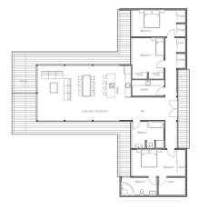 images about Home Plans  Single Story on Pinterest   Small    Modern Contemporary House Plan   three bedrooms and large windows  open planning