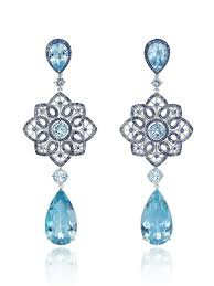 Chopard earrings with four pear-shaped aqumarines (29cts), six ...