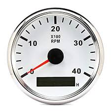 85mm white marine tachometer gauge boat rpm tacho meter diesel engine 3000rpm red backlight with hour 12v 24v