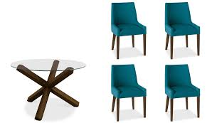 Teal Dining Room Chairs Reims Walnut Round Glass Top Table Amp 4 Scoop Back Chair Teal