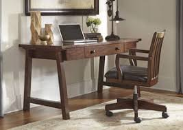 wassner dark brown home office large leg desk w swivel desk chairsignature design baybrin rustic brown home office small