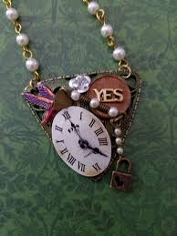 <b>Steampunk</b> Assemblage Style Filigree Necklace with <b>Hand Painted</b> ...