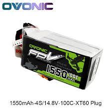 <b>OVONIC 1550mAh</b> 4S <b>100C</b> Max 200C <b>14.8V</b> Lipo Battery XT60 ...