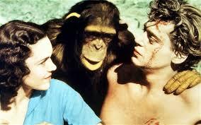 Maureen O'Sullivan, Cheetah and Johnny Weissmuller starring in the 1932 film Tarzan, the Ape Man Photo: Rex Features - cheetah-2_2094683b