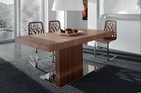 dining space square free standing contemporary dining table combined with unique designed