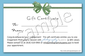 sample gift certificate photography by jaana los angeles sample gift certificate