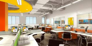 contemporary design open plan office system in vermilion orange bright yellow and apple green apple office design
