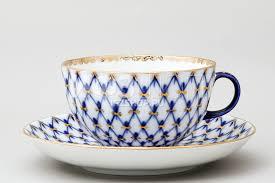 <b>Чашка с блюдцем</b> чайная ф.Тюльпан рис.Кобальтовая сетка ...