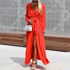 Spring Long Sleeve V Neck Beach Dress Tunic Elegant Split <b>Maxi</b> ...
