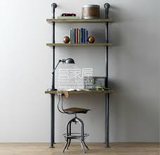 american retro wood wrought iron shelves computer desk conjoined industrial loft old furniture water separators do stands in swivel plates from furniture on american retro style industrial furniture desk